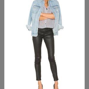 AG Isabelle Coated Black Pants Size 27 R